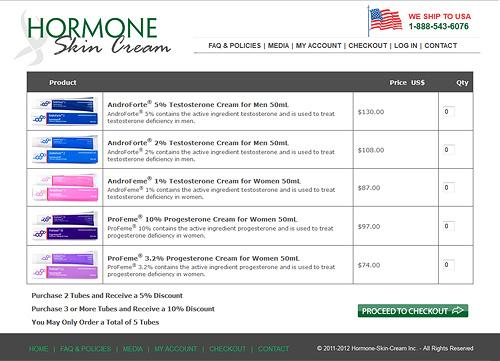 Hormone Skin Cream cart